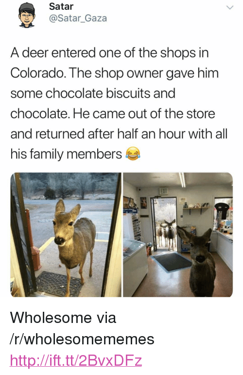 """Deer, Family, and Chocolate: Satar  @Satar_Gaza  A deer entered one of the shops in  Colorado. The shop owner gave him  some chocolate biscuits and  chocolate. He came out of the store  and returned after half an hour with all  his family members <p>Wholesome via /r/wholesomememes <a href=""""http://ift.tt/2BvxDFz"""">http://ift.tt/2BvxDFz</a></p>"""