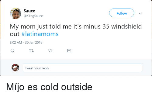 windshield: Sauce  @KingSauce  Follow  My mom just told me it's minus 35 windshield  out #latinamoms  8:02 AM- 30 Jan 2019  Tweet your reply Míjo es cold outside