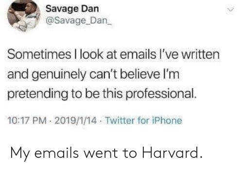 Dank, Iphone, and Savage: Savage Dan  @Savage Dan  Sometimes I look at emails l've written  and genuinely can't believe l'm  pretending to be this professional.  10:17 PM 2019/1/14 Twitter for iPhone My emails went to Harvard.