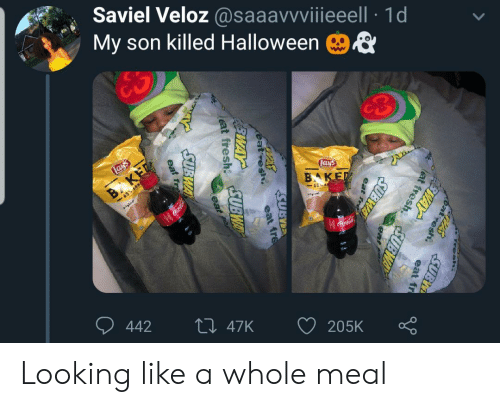 subway: Saviel Veloz @saaavvviiieeell 1d  My son killed Halloween  ES  Lays  Lays  B KET  -65% LESS  BAKED  65 E  gal  Coca-Cola  442  Li 47K  205K  Fresh.  PASSUBI  at  esh.  FEWAY  eat fr  lat fresh  SUBWAY  eat  fre  SUBWA  eat fre  eat fresh UBWAY  eat  SUBWA  eat resh  EWAY  eat fr Looking like a whole meal