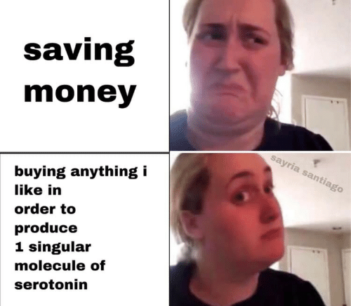 Money, Serotonin, and Santiago: saving  money  sayria santiago  buying anything i  like in  order to  produce  1 singular  molecule of  serotonin