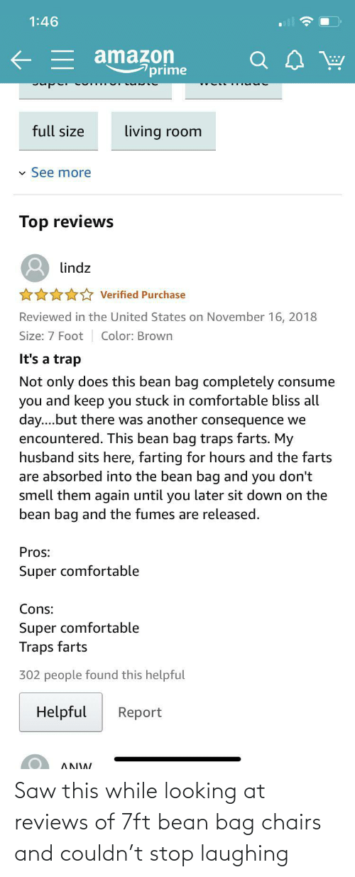 Reviews: Saw this while looking at reviews of 7ft bean bag chairs and couldn't stop laughing