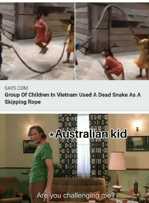 rope: SAYS.COM  Group Of Children In Vietnam Used A Dead Snake As A  Skipping Rope  Australian kid  Are you challenging me?