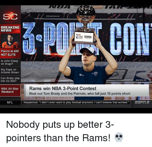 nba all star weekend: SC  GhettoGronk  BREAKING  NEWS  Flacco is still  NOT ELITE  is John Elway  on drugs?  Big Rape on  Antonio Brown  Can Brady play  into his 60s?  NBA All-Star  Weekend  Rams win NBA 3-Point Contest  Beat out Tom Brady and the Patriots, who fall just 10 points short  NFL  Kaepernick: I didn't even want to play football anymore. I can't believe that worked. ESFR2 Nobody puts up better 3-pointers than the Rams! 💀