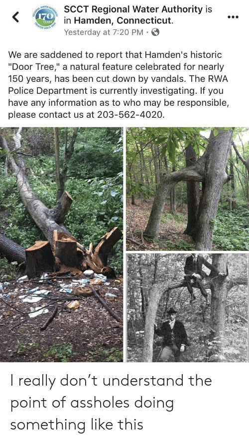 "Police, Connecticut, and Information: SCCT Regional Water Authority is  in Hamden, Connecticut  Yesterday at 7:20 PM  AUTHO  WATTa  170  YEARS  STED SINCE  We are saddened to report that Hamden's historic  ""Door Tree,"" a natural feature celebrated for nearly  150 years, has been cut down by vandals. The RWA  Police Department is currently investigating. If you  have any information as to who may be responsible,  please contact us at 203-562-4020 I really don't understand the point of assholes doing something like this"