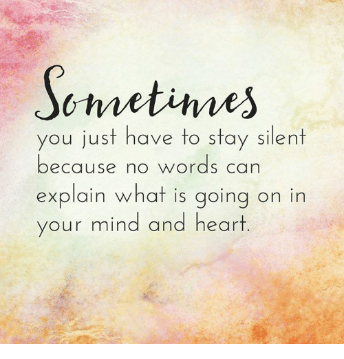Memes, Heart, And Hearts: Schnetimes You Just Have To Stay Silent Because No  Words Can Explain What Is Going On In Your Mind And Heart