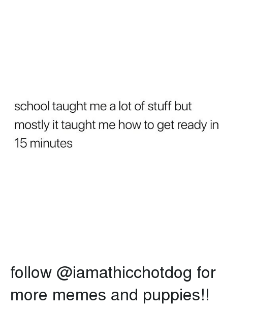Memes, Puppies, and School: school taught me a lot of stuff but  mostly it taught me how to get ready in  15 minutes follow @iamathicchotdog for more memes and puppies!!
