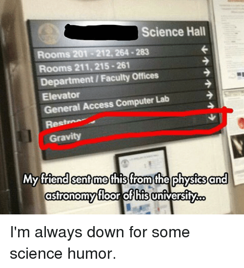 Memes, Access, and Computer: Science Hall  Rooms 201-212, 264-283  Rooms 211, 215-261  Department/Faculty Offices  Elevator  General Access Computer Lab  Res  Gravity  Myfttend sentmethis from the physics and  floor of his  asfronomy I'm always down for some science humor.