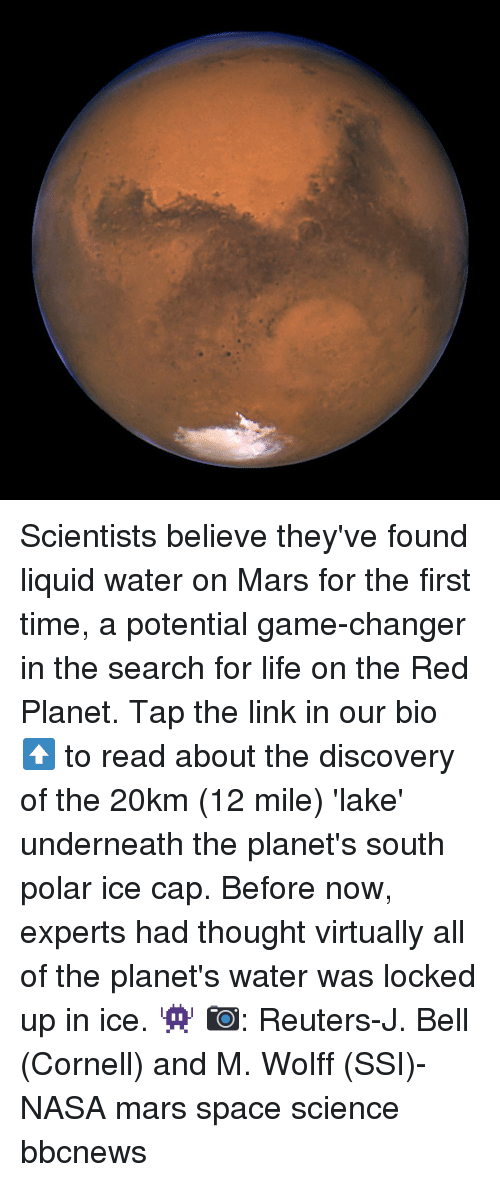Game Changer: Scientists believe they've found liquid water on Mars for the first time, a potential game-changer in the search for life on the Red Planet. Tap the link in our bio ⬆️ to read about the discovery of the 20km (12 mile) 'lake' underneath the planet's south polar ice cap. Before now, experts had thought virtually all of the planet's water was locked up in ice. 👾 📷: Reuters-J. Bell (Cornell) and M. Wolff (SSI)-NASA mars space science bbcnews
