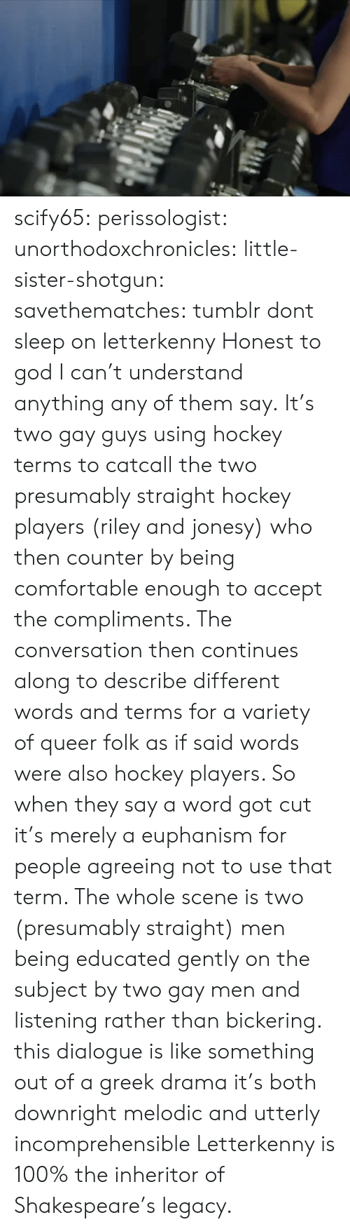 Anaconda, Comfortable, and God: scify65: perissologist:  unorthodoxchronicles:  little-sister-shotgun:  savethematches: tumblr dont sleep on letterkenny  Honest to god I can't understand anything any of them say.  It's two gay guys using hockey terms to catcall the two presumably straight hockey players (riley and jonesy) who then counter by being comfortable enough to accept the compliments. The conversation then continues along to describe different words and terms for a variety of queer folk as if said words were also hockey players. So when they say a word got cut it's merely a euphanism for people agreeing not to use that term. The whole scene is two (presumably straight) men being educated gently on the subject by two gay men and listening rather than bickering.   this dialogue is like something out of a greek drama it's both downright melodic and utterly incomprehensible   Letterkenny is 100% the inheritor of Shakespeare's legacy.