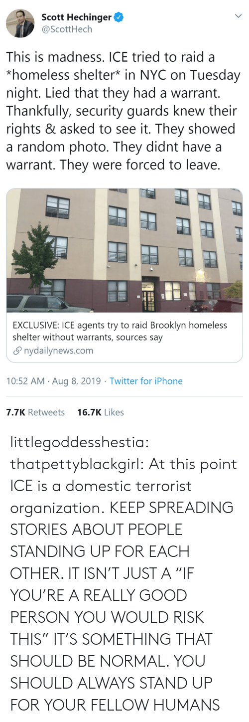 "Be Normal: Scott Hechinger  @ScottHech  This is madness. ICE tried to raid a  *homeless shelter* in NYC on Tuesday  night. Lied that they had a warrant.  Thankfully, security guards knew their  rights & asked to see it. They showed  a random photo. They didnt have  warrant. They were forced to leave.  EXCLUSIVE: ICE agents try to raid Brooklyn homeless  shelter without warrants, sources say  nydailynews.com  10:52 AM Aug 8, 2019 Twitter for iPhone  7.7K Retweets  16.7K Likes littlegoddesshestia: thatpettyblackgirl:  At this point ICE is a domestic terrorist organization.    KEEP SPREADING STORIES ABOUT PEOPLE STANDING UP FOR EACH OTHER. IT ISN'T JUST A ""IF YOU'RE A REALLY GOOD PERSON YOU WOULD RISK THIS"" IT'S SOMETHING THAT SHOULD BE NORMAL. YOU SHOULD ALWAYS STAND UP FOR YOUR FELLOW HUMANS"