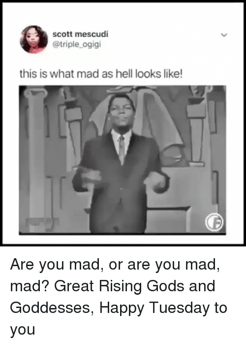 Mad Mad: scott mescudi  @triple_ogigi  this is what mad as hell looks like Are you mad, or are you mad, mad? Great Rising Gods and Goddesses, Happy Tuesday to you