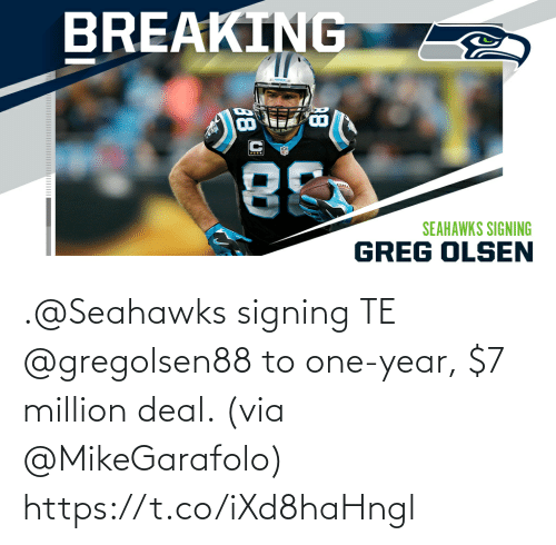 Million: .@Seahawks signing TE @gregolsen88 to one-year, $7 million deal. (via @MikeGarafolo) https://t.co/iXd8haHngl