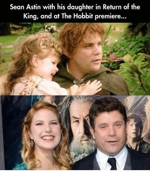 return of the king: Sean Astin with his daughter in Return of the  King, and at The Hobbit premiere...