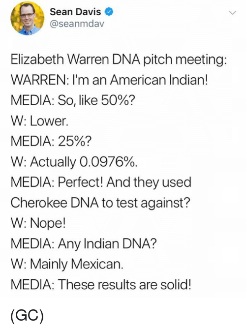Elizabeth Warren: Sean Davis  @seanmdav  Elizabeth Warren DNA pitch meeting:  WARREN: I'm an American Indian!  MEDIA: So, like 50%?  W: Lower.  MEDIA: 25%?  W: Actually 00376%.  MEDIA: Perfect! And they used  Cherokee DNA to test against?  W: Nope!  MEDIA: Any Indian DNA?  W: Mainly Mexican.  MEDIA: These results are solid! (GC)