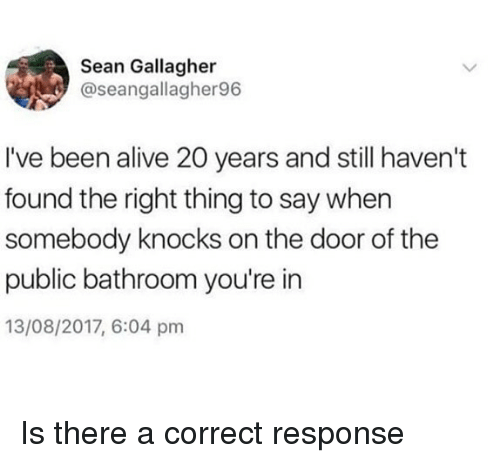 Alive, Memes, and Been: Sean Gallagher  @seangallagher96  I've been alive 20 years and still haven't  found the right thing to say when  somebody knocks on the door of the  public bathroom you're in  13/08/2017, 6:04 pmm Is there a correct response