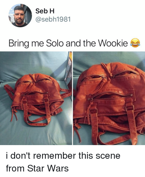 Bring Me Solo: Seb H  @sebh1981  Bring me Solo and the Wookie i don't remember this scene from Star Wars