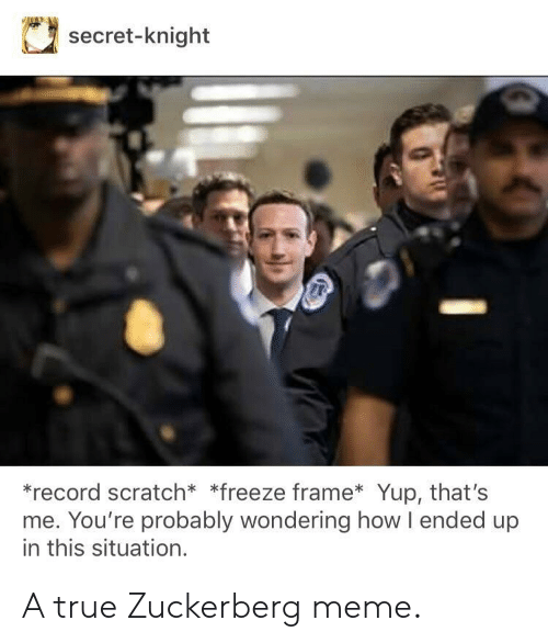 Freeze Frame: secret-knight  *record scratch* *freeze frame Yup, that's  me. You're probably wondering how l ended up  in this situation. A true Zuckerberg meme.