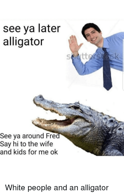 wife-and-kids: see ya later  alligator  See ya around Fre  Say hi to the wife  and kids for me ok White people and an alligator