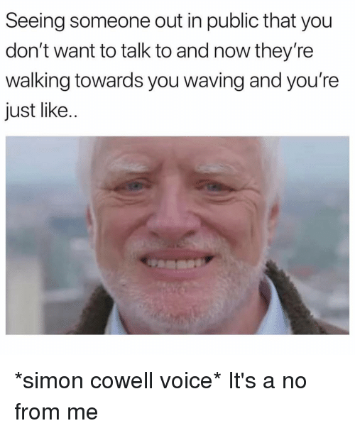 Simon Cowell, Voice, and Girl Memes: Seeing someone out in public that you  don't want to talk to and now they're  walking towards you waving and you're  just like.. *simon cowell voice* It's a no from me