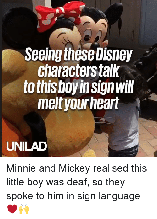 Dank, Disney, and Sign Language: Seeing these Disney  characterstalk  to this boyinsignwill  meltyourheart  UNILAD Minnie and Mickey realised this little boy was deaf, so they spoke to him in sign language ❤️🙌