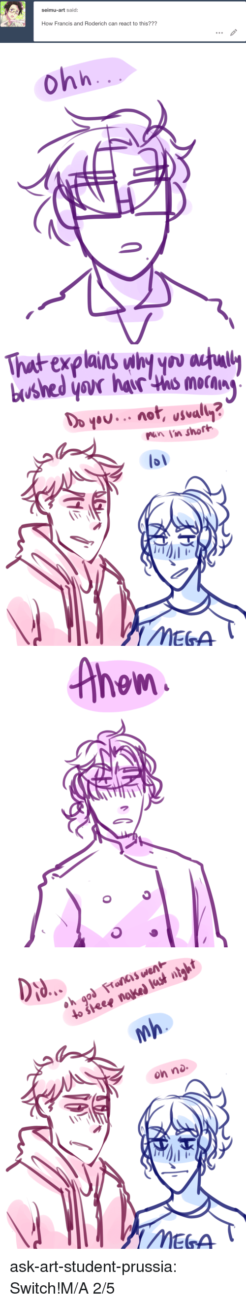 Lol, Target, and Tumblr: seimu-art said:  How Francis and Roderich can react to this???   ohh   That explains why you auul  pan lin short  lol   Ahew   on no.  MEGA ask-art-student-prussia:  Switch!M/A 2/5