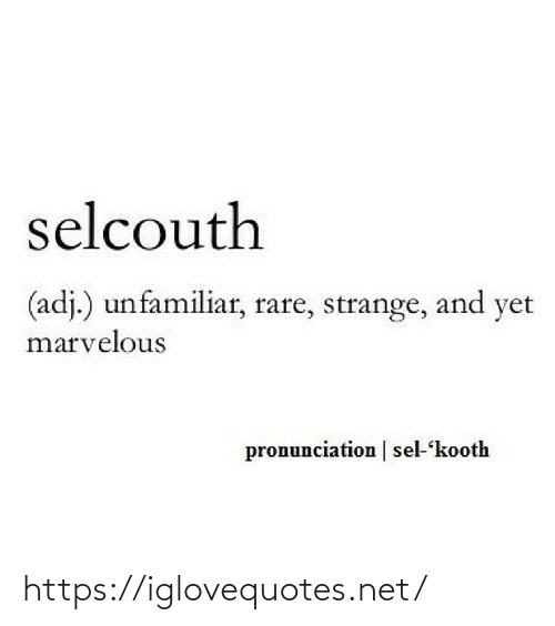Marvelous, Net, and Rare: selcouth  (adj.) unfamiliar, rare, strange, and yet  marvelous  pronunciation | sel-kooth https://iglovequotes.net/