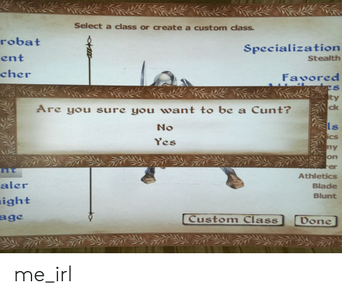 Cher: Select a class or create a custom class  robat  ent  cher  Specialization  Stealth  Favored  ty  Are you sure you want to be a Cunt?  ck  No  ls  Cs  es  on  er  Athletics  Blade  Blunt  aler  ight  Custom Class  Don me_irl