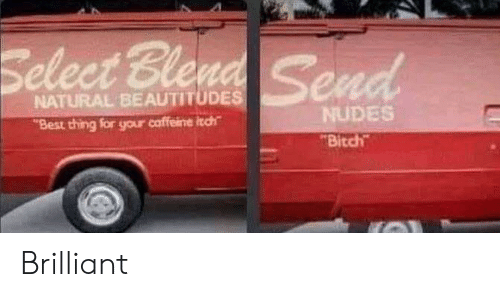 "Bitch, Nudes, and Best: Select Blend  Send  NATURAL BEAUTITUDES  NUDES  Best thing for your caffeine itch  ""Bitch Brilliant"