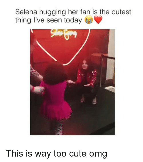 Cute, Omg, and Selena: Selena hugging her fan is the cutest  thing I've seen today This is way too cute omg