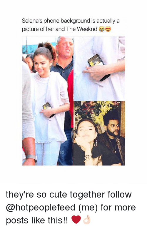 Cute, Phone, and The Weeknd: Selena's phone background is actually a  picture of her and The Weeknd  ed they're so cute together follow @hotpeoplefeed (me) for more posts like this!! ❤️👌🏻