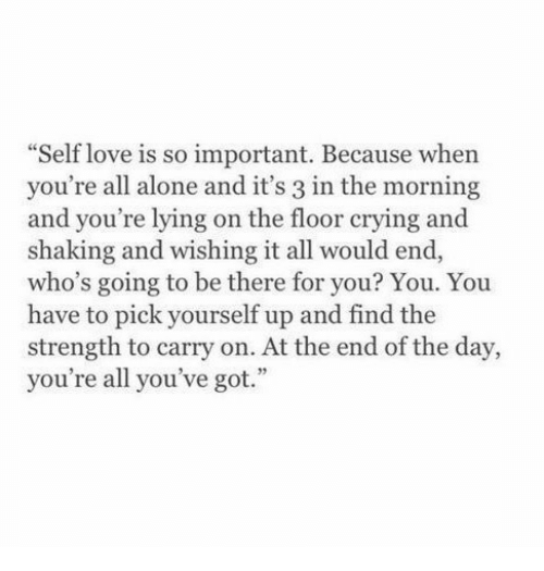 """youre lying: Self love is so important. Because whern  you're all alone and it's 3 in the morning  and you're lying on the floor crying and  shaking and wishing it all would end  who's going to be there for you? You. You  have to pick yourself up and find the  strength to carry on. At the end of the day,  you're all you've got.""""  35"""