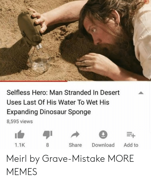 Gravely: Selfless Hero: Man Stranded In Desert  Uses Last Of His Water To Wet His  Expanding Dinosaur Sponge  8,595 views  1.1K  Share Download Add to Meirl by Grave-Mistake MORE MEMES