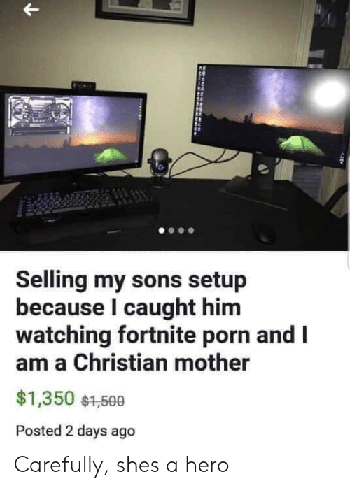 Porn, Hero, and Mother: Selling my sons setup  because l caught him  watching fortnite porn and I  am a Christian mother  $1,350 $1,500  Posted 2 days ago Carefully, shes a hero