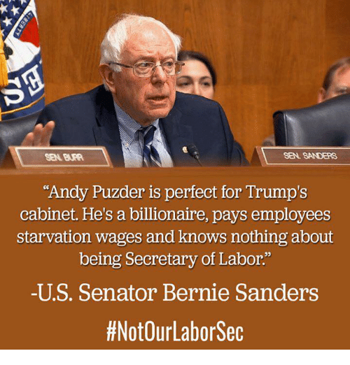 "Senations: SEN. SANDERS  ""Andy Puzder is perfect for Trump's  cabinet. He's a billionaire, pays employees  starvation wages and knows nothing about  being Secretary of Labor.""  -U S. Senator Bernie Sanders  #NotOurLabor Sec"
