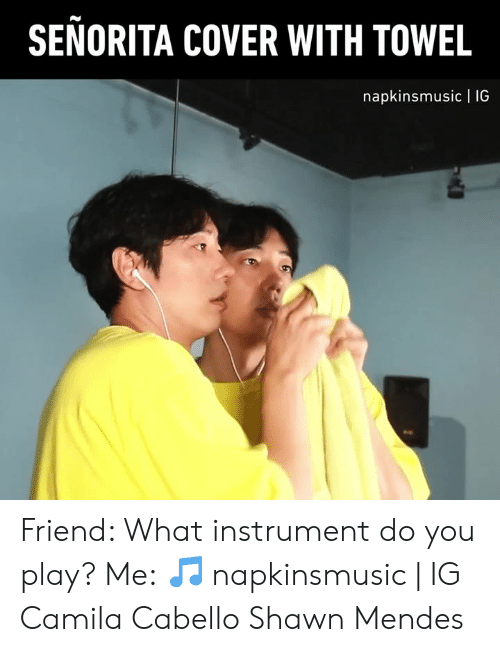 Dank, 🤖, and Friend: SENORITA COVER WITH TOWEL  napkinsmusic | 1IG Friend: What instrument do you play? Me:  🎵 napkinsmusic | IG  Camila Cabello Shawn Mendes