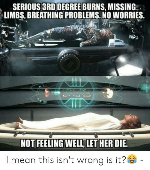 Memes, Mean, and 🤖: SERIOUS 3RD DEGREE BURNS, MISSING  LIMBS, BREATHING PROBLEMS. NO WORRIES. I mean this isn't wrong is it?😂 -