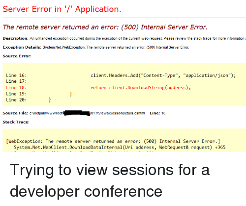 6a80d8ac1b7 Information, Content, and Programmer Humor: Server Error in '