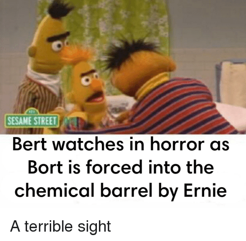 Sesame Street Bert Watches In Horror As Bort Is Forced Into