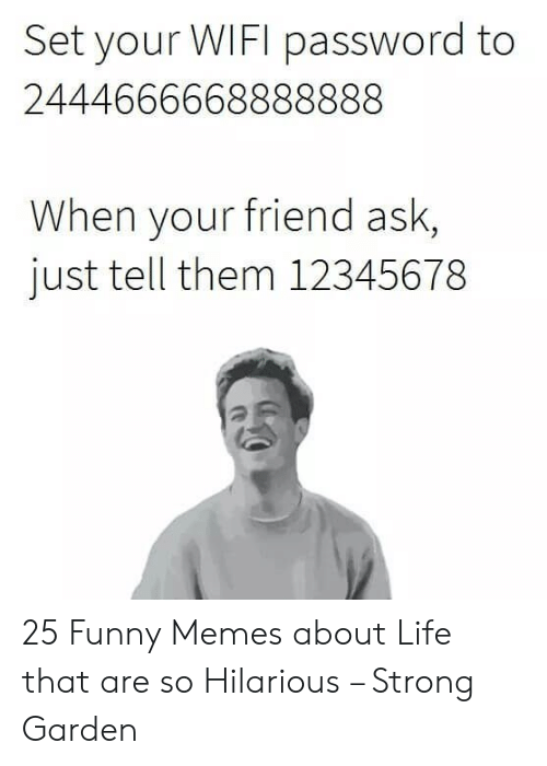 Funny Memes About Life: Set your WIFI password to  2444666668888888  When your friend ask,  just tell them 12345678 25 Funny Memes about Life that are so Hilarious – Strong Garden