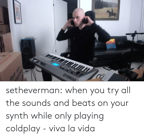 Coldplay: setheverman:   when you try all the sounds and beats on your synth while only playing coldplay - viva la vida