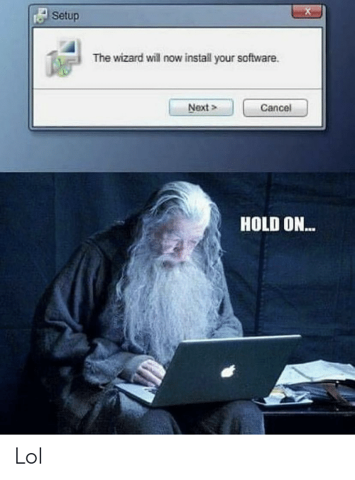 Lol, Software, and Wizard: Setup  The wizard will now install your software  Next>  Cancel  HOLD ON... Lol
