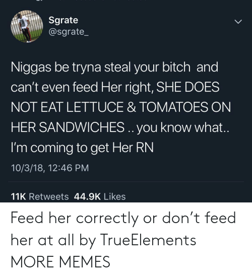 Bitch, Dank, and Memes: Sgrate  @sgrate_  Niggas be tryna steal your bitch and  can't even feed Her right, SHE DOES  NOT EAT LETTUCE & TOMATOES ON  HER SANDWICHES .. you know what.  I'm coming to get Her RN  10/3/18, 12:46 PM  11K Retweets 44.9K Likes Feed her correctly or don't feed her at all by TrueElements MORE MEMES