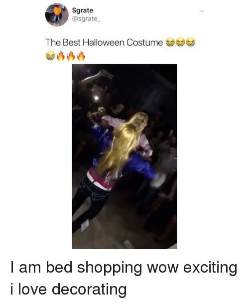 Halloween, Love, and Memes: Sgrate  @sgrate  The Best Halloween Costume I am bed shopping wow exciting i love decorating