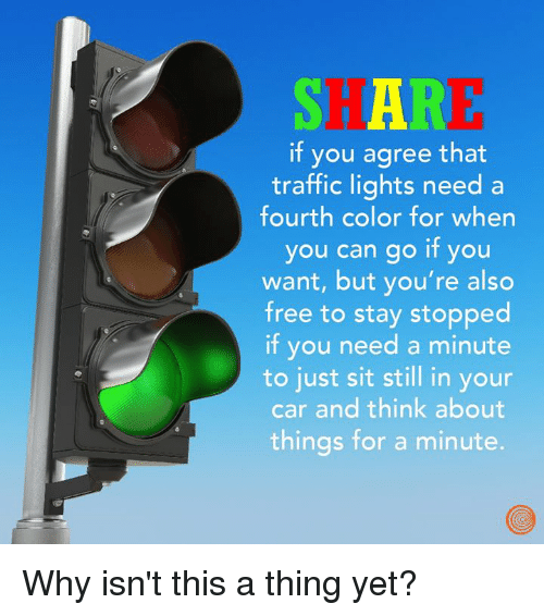 Dank, Traffic, and Free: SH AR  if you agree that  traffic lights need a  fourth color for when  you can go if you  want, but you're also  free to stay stopped  if you need a minute  to just sit still in your  car and think about  things for a minute. Why isn't this a thing yet?