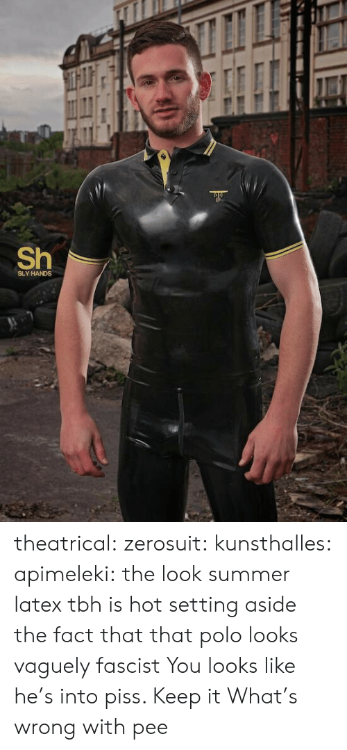 Gif, Tbh, and Tumblr: Sh  SLY HANDS theatrical:  zerosuit:  kunsthalles:  apimeleki:  the look  summer latex tbh is hot setting aside the fact that that polo looks vaguely fascist  You looks like he's into piss. Keep it  What's  wrong with pee