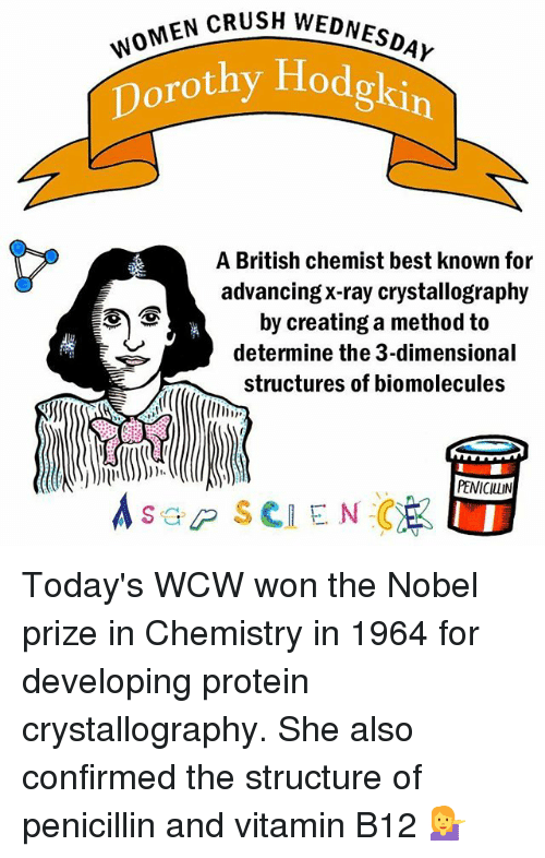 methodical: SH WOMEN CRUSH WEDNESDAY  w  Dorothy Hodgkin  A British chemist best known for  advancing X-ray crystallography  by creating a method to  determine the 3-dimensional  structures of biomolecules  PENICILLIN  s GP SCIENCE Today's WCW won the Nobel prize in Chemistry in 1964 for developing protein crystallography. She also confirmed the structure of penicillin and vitamin B12 💁