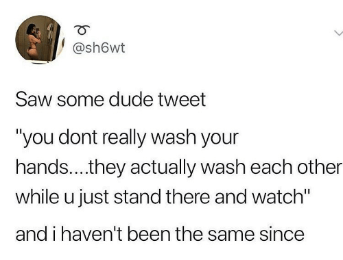 "Wash: @sh6wt  Saw some dude tweet  ""you dont really wash your  hands..they actually wash each other  while u just stand there and watch""  and i haven't been the same since"