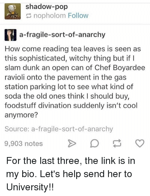 Dunk, Memes, and Pop: shadow-pop  nopholom Follow  a fragile-sort-of-anarchy  How come reading tea leaves is seen as  this sophisticated, witchy thing but if I  slam dunk an open can of Chef Boyardee  ravioli onto the pavement in the gas  station parking lot to see what kind of  soda the old ones think l should buy,  foodstuff divination suddenly isn't cool  anymore?  Source: a-fragile-sort-of-anarchy  9,903 notes For the last three, the link is in my bio. Let's help send her to University!!