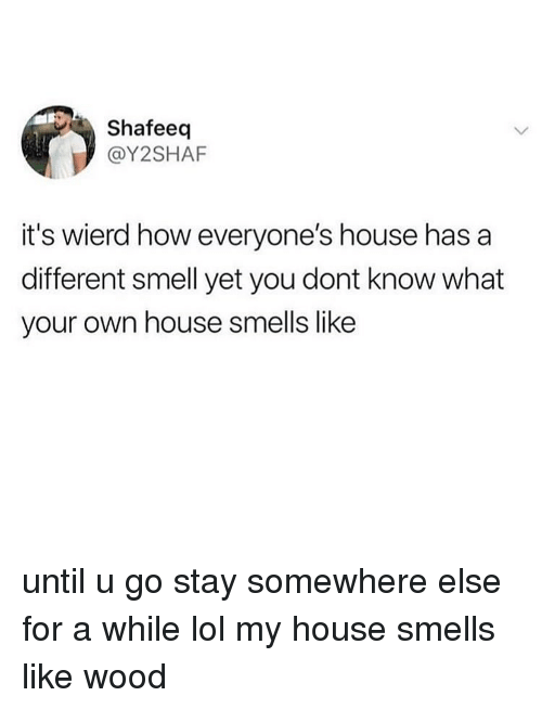 Lol, Memes, and My House: Shafeeq  @Y2SHAF  it's wierd how everyone's house has a  different smell yet you dont know what  your own house smells like until u go stay somewhere else for a while lol my house smells like wood